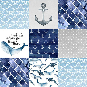Nautical // I whale always love you - wholecloth cheater quilt