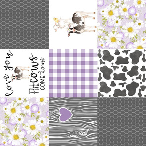 Purple - Farm // Love you till the cows come home - wholecloth cheater quilt - Rotated