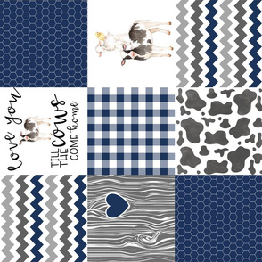 Navy - Farm // Love you till the cows come home - wholecloth cheater quilt - rotated