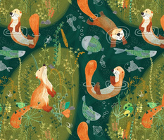 Pattern #74 -  Playful otters by the river