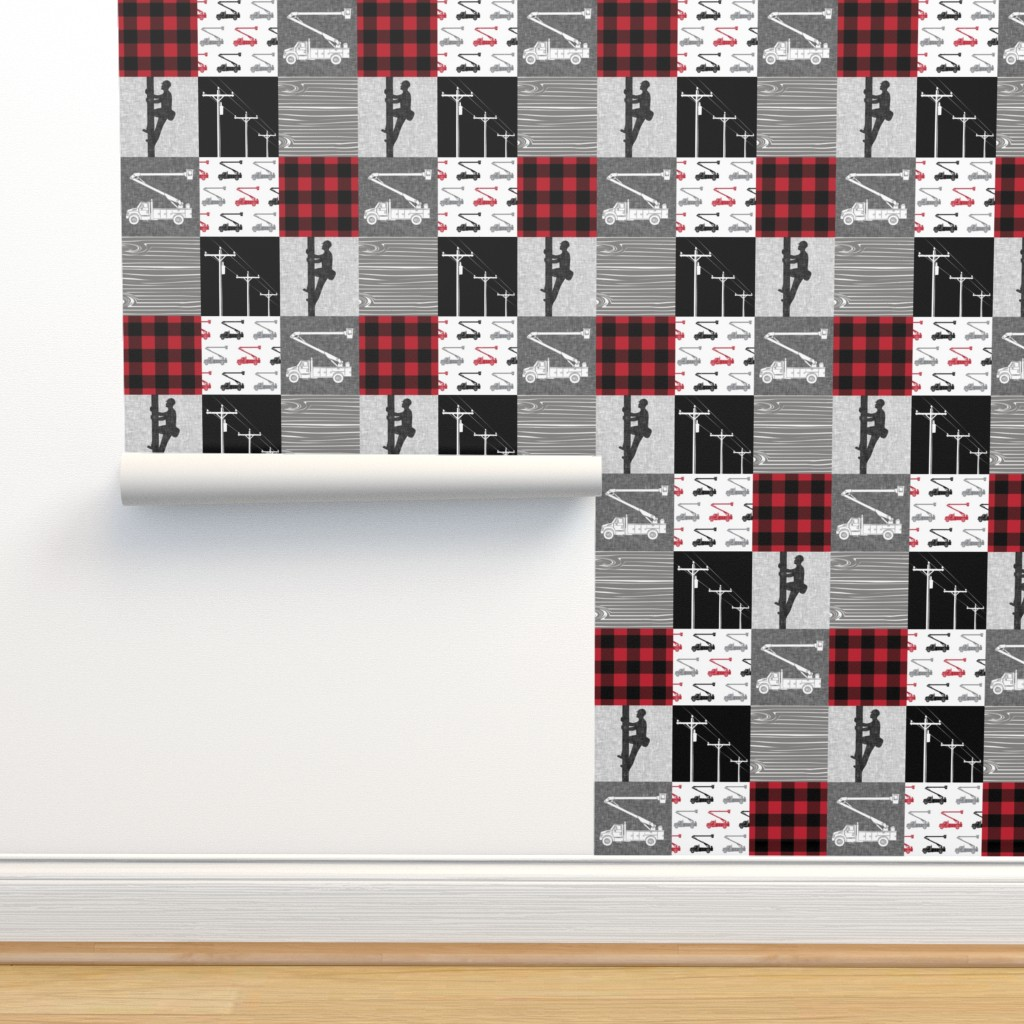 Isobar Durable Wallpaper featuring lineman patchwork - buffalo plaid by littlearrowdesign