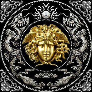 2 gold silver medusa baroque rococo black gold flowers floral filigree clouds dragons sun fire flames pearl asian japanese china chinese gorgons Greek Greece mythology far east meets west fusion oriental chinoiserie  versace inspired