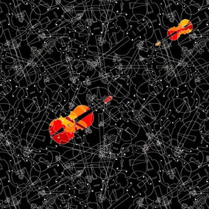 scattered red and orange violins on black