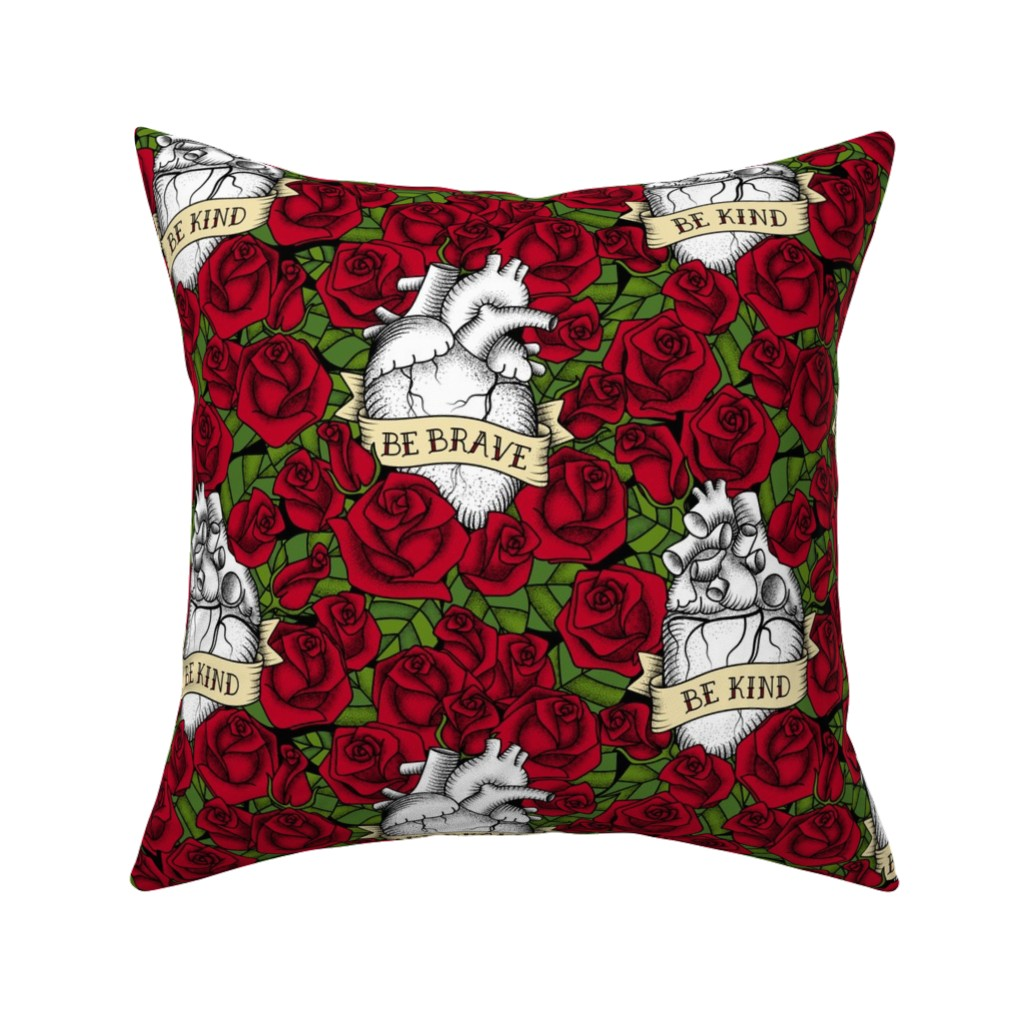 Catalan Throw Pillow featuring Heart and Roses_BBrave BKind by mia_valdez