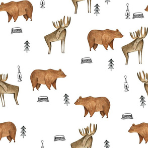 Bear Moose Forest/ Boy Fabric Woodland/ Forest Trees/ Minimal fabric for boys