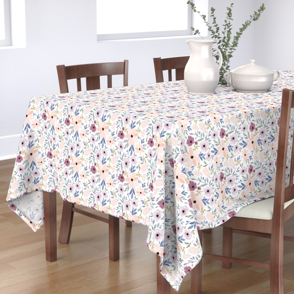 Bantam Rectangular Tablecloth featuring Indy bloom design sugar plum poppy B by indybloomdesign