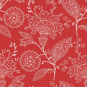 Crewel Work Allover Red