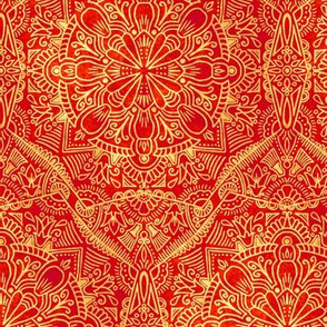 Floral Ethnic - Red / Gold