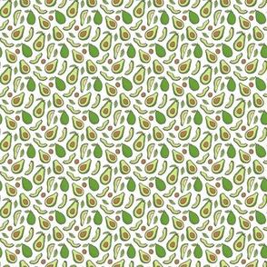 Avocado  Fabric on White Tiny Small 0,5 inch