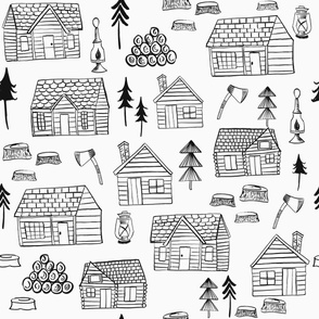 Wood Cabins Black / Wooden Cabins Woodland Forest / Lumberjack/ Black and white fabric/ Minimal black and white/