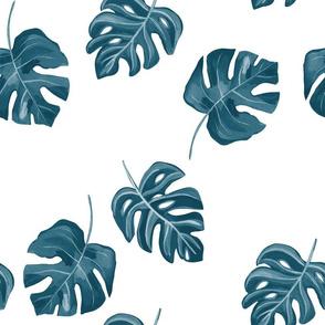 Monstera Leaf Blue/ Tropical Leaf/Hand painted tropical leaf/Foliage fabric