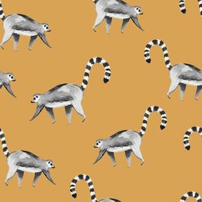 Lemur animal black and white mustard/ Hand painted lemur fabric/ Tropicla jungle animal