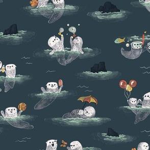 Playful Otters - Dark