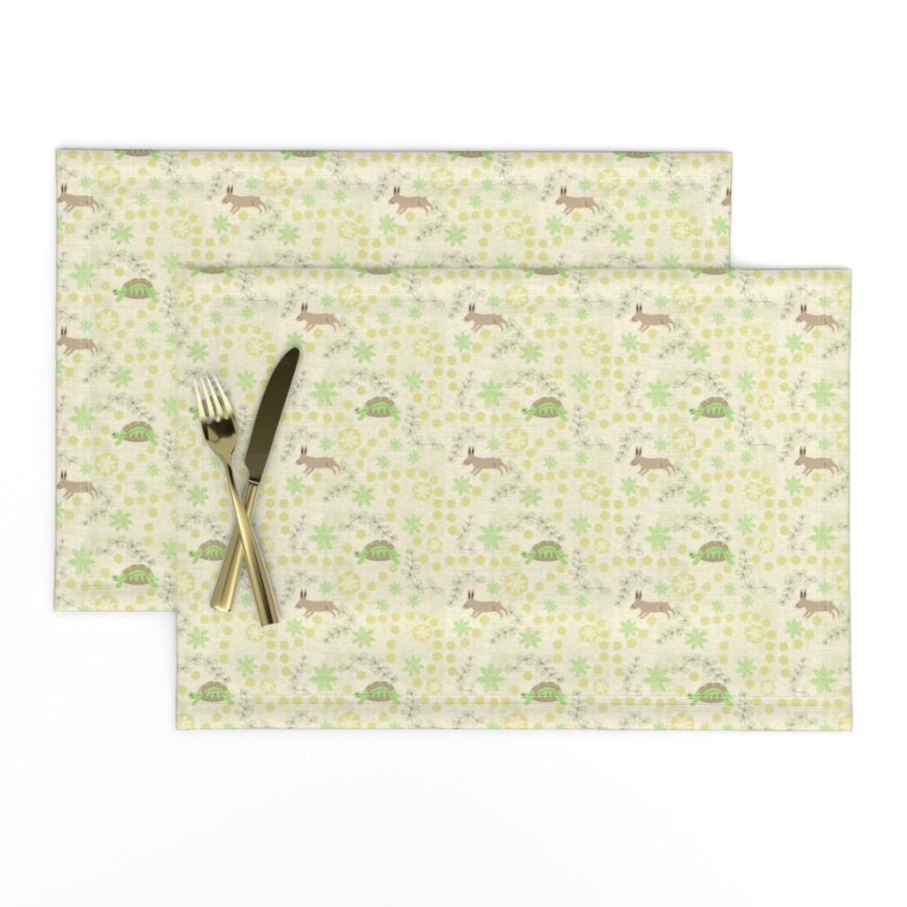 Lamona Cloth Placemats featuring The Tortoise and the Hare Fable + by gargoylesentry