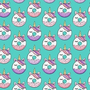 (small scale) unicorn donuts (pink and purple) dark teal