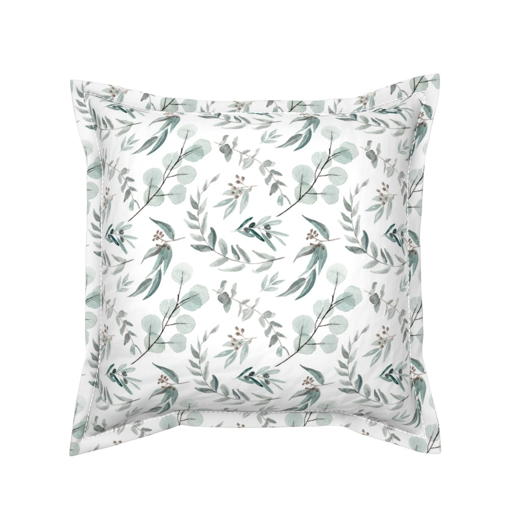 Serama Throw Pillow featuring Australian Native Eucalyptus Leaves || Edition 1 || Australiana Fabric Wallpaper by erin__kendal