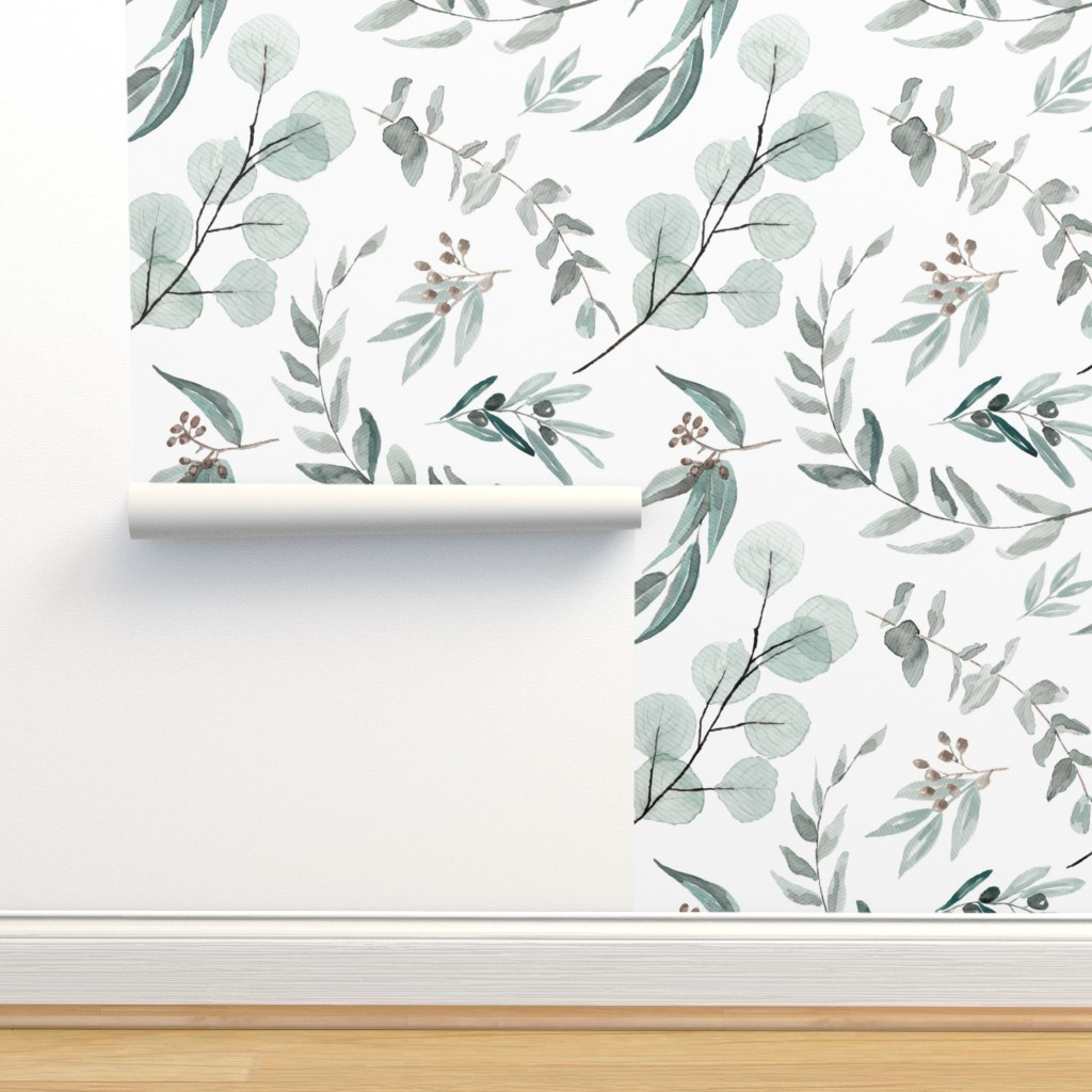 Isobar Durable Wallpaper featuring Australian Native Eucalyptus Leaves || Edition 1 || Australiana Fabric Wallpaper by erin__kendal