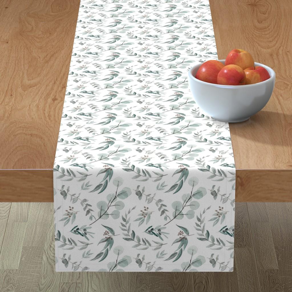 Minorca Table Runner featuring Australian Native Eucalyptus Leaves || Edition 1 || Australiana Fabric Wallpaper by erin__kendal