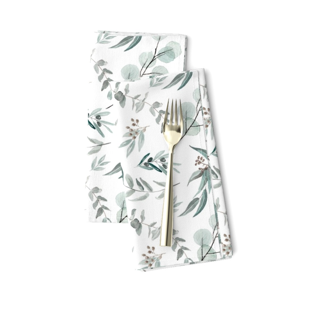 Amarela Dinner Napkins featuring Australian Native Eucalyptus Leaves || Edition 1 || Australiana Fabric Wallpaper by erin__kendal