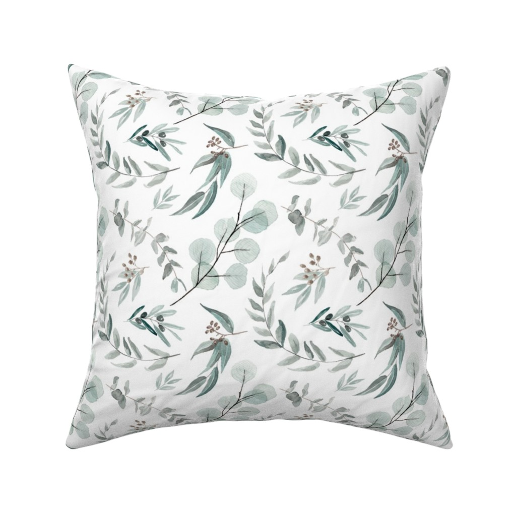 Catalan Throw Pillow featuring Australian Native Eucalyptus Leaves || Edition 1 || Australiana Fabric Wallpaper by erin__kendal