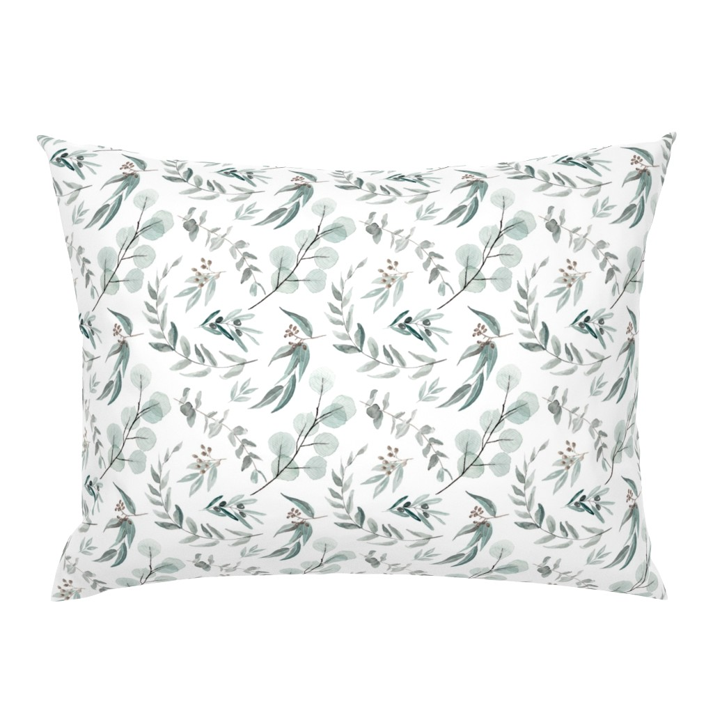 Campine Pillow Sham featuring Australian Native Eucalyptus Leaves || Edition 1 || Australiana Fabric Wallpaper by erin__kendal