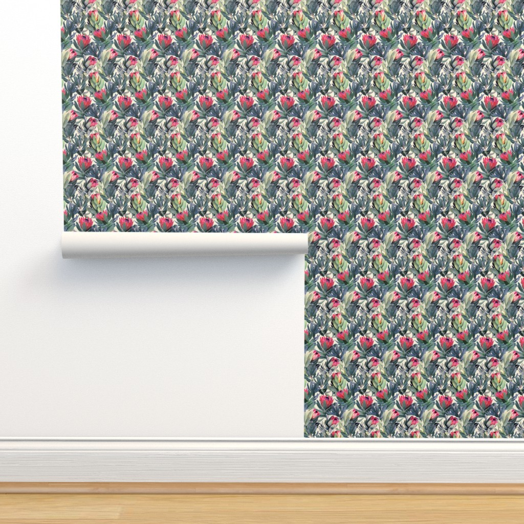 Isobar Durable Wallpaper featuring Painted Protea Floral - tiny print by micklyn