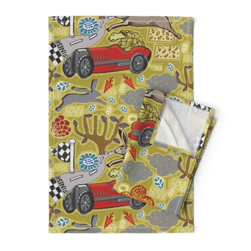 Orpington Tea Towels featuring Tortoise Takes The Wheel. by slumbermonkey