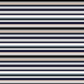 Neutral Stripes in black, navy, greys and cream