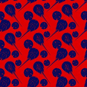 small horseshoe crabs and sand dollars navy on red