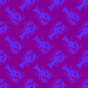 small lobster blue on purple
