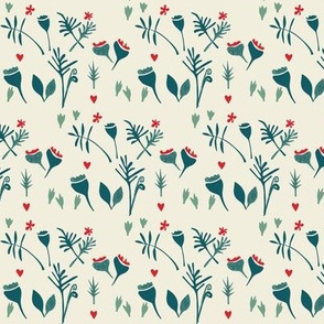 floral meadow-cream/teal