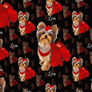 "Yorkie Loves Red  4"" size"