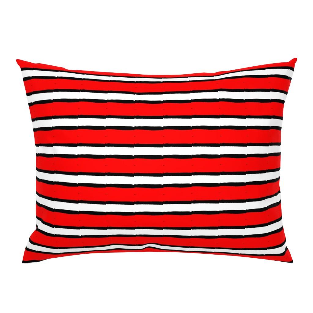 Campine Pillow Sham featuring Haba Jiri Red Black & White 9 by tabasamu_design