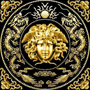 1 gold medusa baroque rococo black gold flowers floral filigree clouds dragons sun fire flames pearl asian japanese china chinese gorgons Greek Greece mythology far east meets west fusion oriental chinoiserie versace inspired