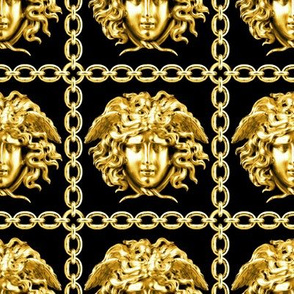 1 interlinked criss cross interconnected connected chains gold medusa  baroque rococo black gold square links gorgons Greek Greece mythology versace inspired