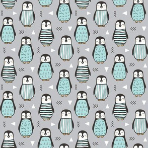 Penguins with Sweater Geometric  and Triangles Grey Smaller 1,5 inch