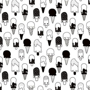 Colorful sweet summer ice cream popsicle sugar kawaii illustration black and white SMALL