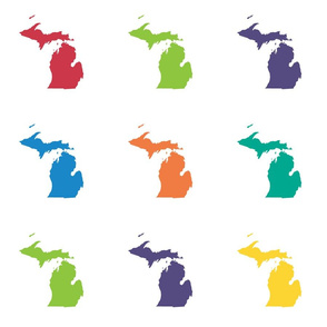 "Michigan silhouette - 6"" multicolored"