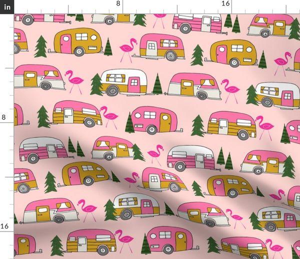 Fabric by the Yard vintage camper (large) // pink vintage retro camper van  cute retro design camping camper van retro camper