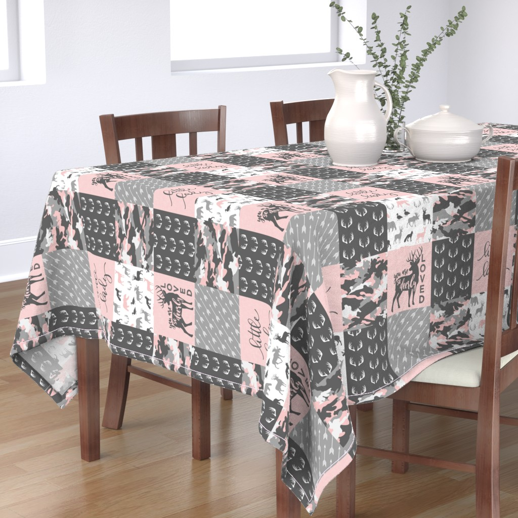 Bantam Rectangular Tablecloth featuring You are so deerly loved / little lady - pink and grey camo - woodland patchwork (90) by littlearrowdesign
