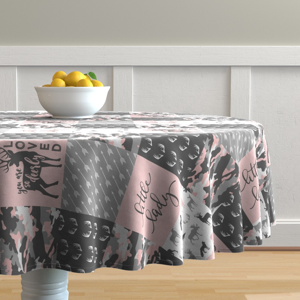 Malay Round Tablecloth featuring You are so deerly loved / little lady - pink and grey camo - woodland patchwork (90) by littlearrowdesign