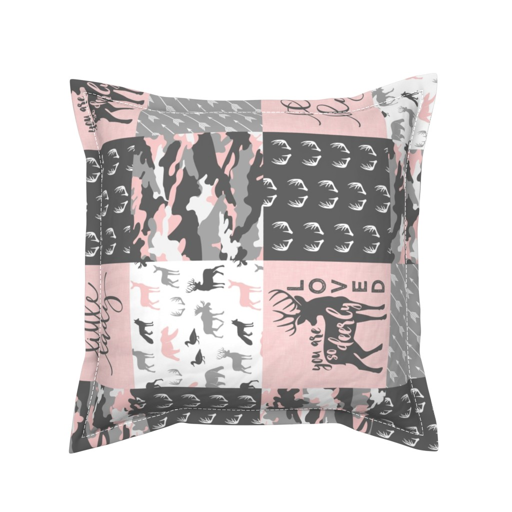 Serama Throw Pillow featuring You are so deerly loved / little lady - pink and grey camo - woodland patchwork (90) by littlearrowdesign
