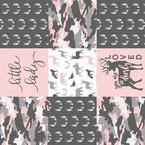 You are so deerly loved / little lady - pink and grey camo - woodland patchwork (90)
