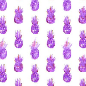 Violet watercolor pineapples