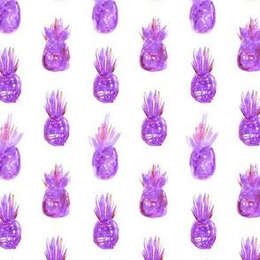 Violet watercolor pineapples