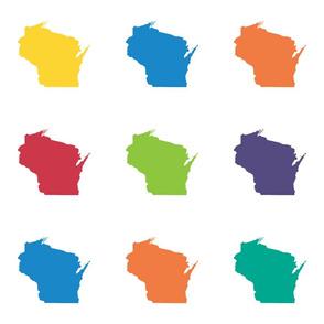 """Wisconsin silhouette - 6"""" multicolored"""