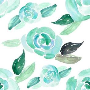 Sea Glass Summer Watercolor Florals