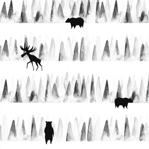 Woodland animals in the forest/ Forest trees woodland animals/ Watercolor woodland animals/ Minimal Black and White fabric