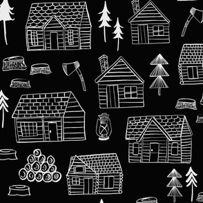 Wood Cabins Black/ Wooden Cabins/ Log Cabins/ Lumberjack Forest Fabric/ Woodland