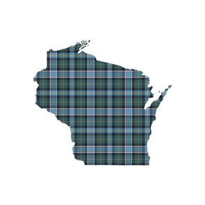 "Wisconsin silhouette - 18"" silhouette filled with 3"" faded tartan"